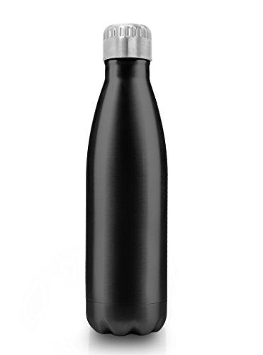 MyGadget Borraccia Termica 500 ml - Acciaio Inossidabile con Doppia Parete - Refrigerante 24h Acqua / Latte Thermos Isotermica 12h - Bottiglia 0, 5L - Nero