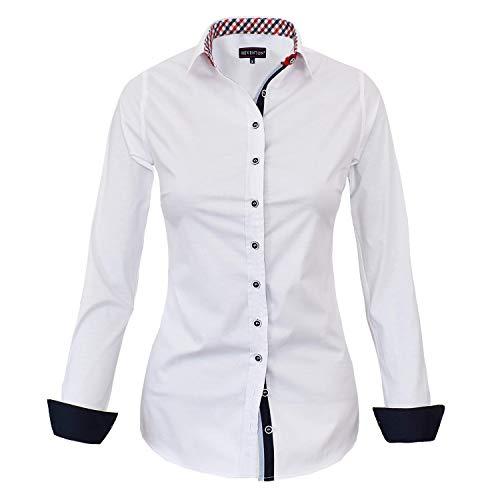 HEVENTON Bluse Damen Langarm in Weiß Hemdbluse - Größe 36 bis 50 - elegant und hochwertig 1178 Farbe Weiß, Größe 42