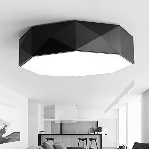 LANTING Plafón LED redondo negro Control remoto Regulable Acrílico ultrafino 50cm 36W 1800LM Lámpara de techo para dormitorio Sala de estar Pasillo Cocina Comedor Habitación infantil
