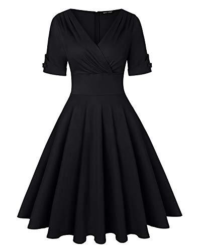 MINTLIMIT Damen Retro V-Ausschnitt Vintage Stil Cocktail Party Schwingen Kleid, XL, Einfarbig_schwarz