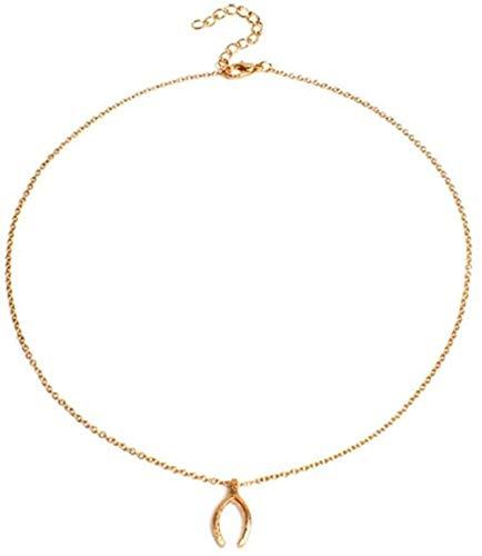 LLJHXZC Collar Personalidad Deseos Huesos Collar De Cadena Larga Colgante Collar De Encanto De Clavícula De Metal Joyería De Cuello Femenino