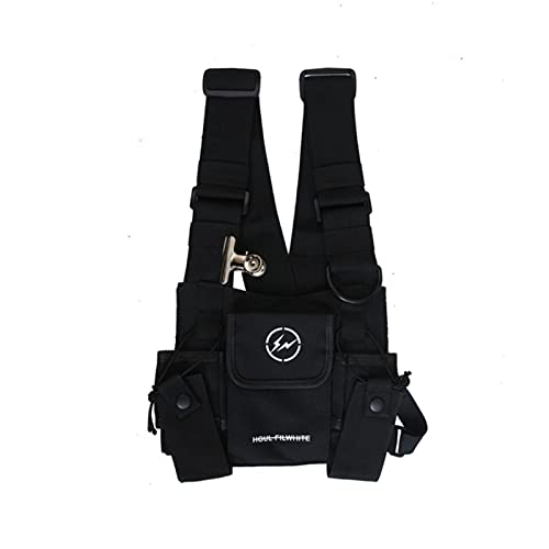 UKKO Brusttasche Unisex Weste Bag Mode Hip-Hop Streetwear Brustbohrtasche Feature Black Bullet Weste Herren Brusttasche