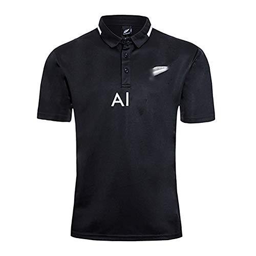 New Zealand World Cup Rugby Polo Shirt 2020, Herren Black Team New Season Professionelle Rugby Uniform Kurzarm-Black-XL
