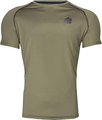 GORILLA WEAR Performance T-Shirt - armeegrün - Bodybuilding und Fitness Bekleidung für Herren - mit Logo Aufdruck zum Sport Alltag Freizeit Workout Training Bequem leicht, M