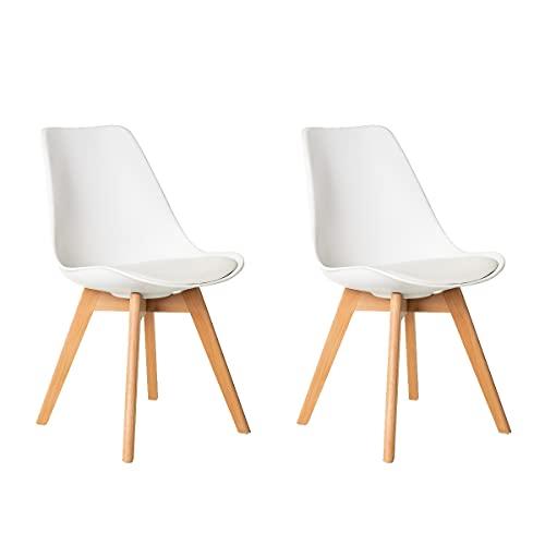 Pack de 2 sillas de Comedor con cojín de Polipropileno Blanco y Madera de Haya Natural de 46x57x80 cm - LOLAhome