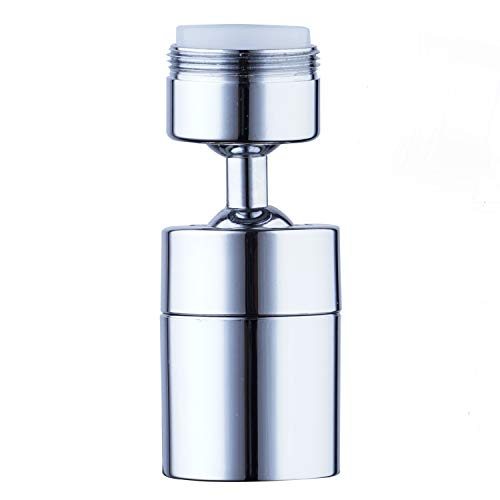 360 Degree Swivel Sink Faucet Aerator, Big Angle High Pressure Large Flow Aerator Dual Function Kitchen Faucet Aerator,Polished Chrome-15/16 Inch-27UNS Male Thread