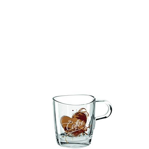 Leonardo Loop Kaffee-Tassen, Kaffee-Becher mit Motiv, spülmaschinengeeignete Glas-Tasse mit Henkel, 6er Set, 260 ml, 022090