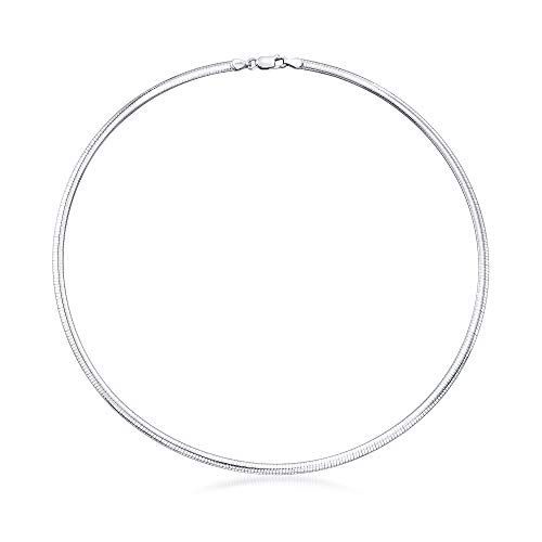 Ross-Simons Italian 4mm Sterling Silver Domed Omega Necklace