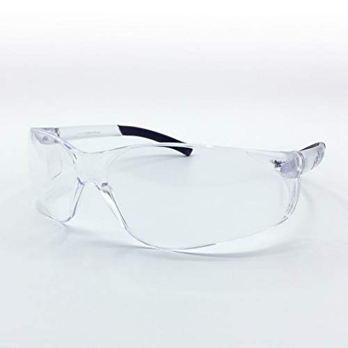 RonaKit Clear Safety Glasses Polycarbonate Wraparound Lens with Non-Slip Temple Tips