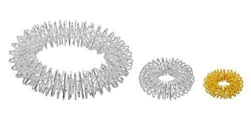 chi-enterprise Premium Massagering Set für Handgelenke und Finger   Anti Stress - Ring und Armband   Akupressur Ring - Anxiety Ring   1 Armband: (silber), 2 Ringe (silber, groß und gold, klein)
