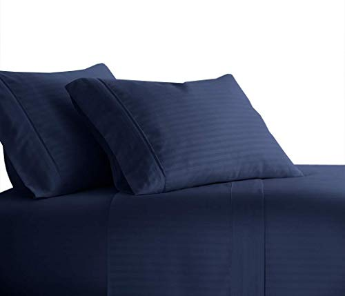 Royal Tradition Striped 300 Thread Count, 100 Percent Cotton 4PC Queen Bed Sheets Set with Deep Pockets, Navy
