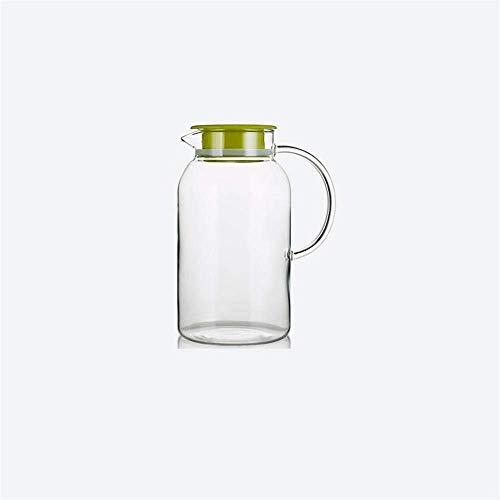 HJYSQX Jarra de Agua de 1.8 litros/litro de Vidrio de borosilicato Resistente al Calor, Jarra con Tapa, Mango práctico, sin plástico y sin BPA para café y Jugo Caliente (Olla Individual, sin Taza