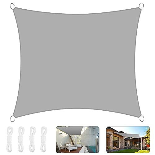Voile d ombrage, 3 x 3 M Voile d'ombrage rectangulaire, Hydrofuge, En polyester 420D PES Tissu Imperméable, 95% Une Protection des Rayons UV, pour Extérieur/Terrasse/Jardin/Balcon/Camping