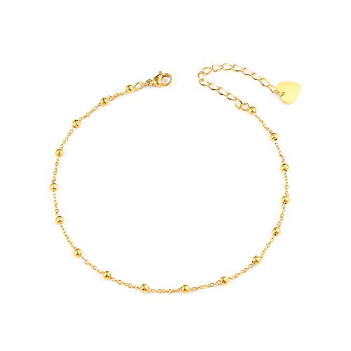 VU100 Dainty Cute Gold Ball Beads Ankle Bracelet for Women Girls Chain Anklet Beach Barefoot Sandal Foot Jewellery Adjustable
