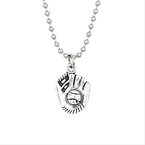 Yiffshunl Collar Mujer aleación Collar de Cadena de Bolas Collar de Guante de béisbol Collar de softbol para Mujeres Hombres Regalo para Amantes de los Deportes