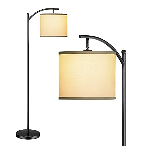 addlon Floor Lamp for Living Room with Beige Linen Lamp Shade and 9W LED Bulb Modern Standing Lamp Floor Lamps for Bedrooms - Black