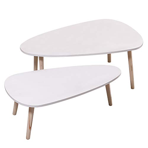 JEOBEST Nest of 2 Tables, Coffee Tables Nesting Tables Side Tables End Tables, for Living Room Reception Room (White, Oval, 2)