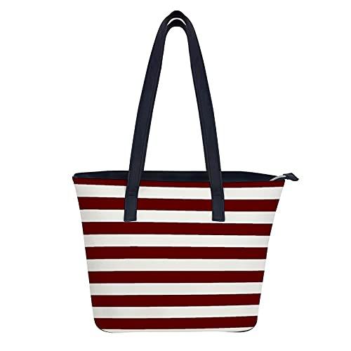 Maroon Stripe - Bolsos de piel auténtica para mujer, gran capacidad, estilo vintage, asa superior