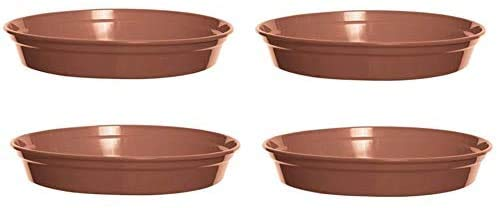 WF 4 x Whitefurze Plastic 12' Terracotta Colour 28cm Saucer Water Dish For 10 Inch Plant Pots