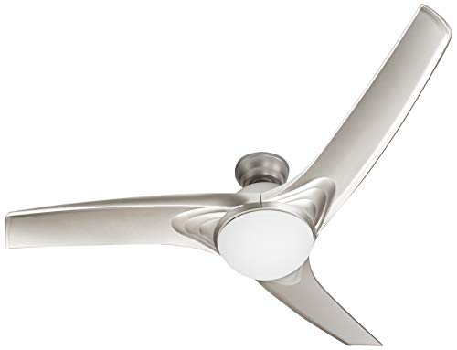 CO-Z Ceiling Fan; LED Light Brushed Nickel Finish; 3 Silver Reversible Blades (Remote Included)