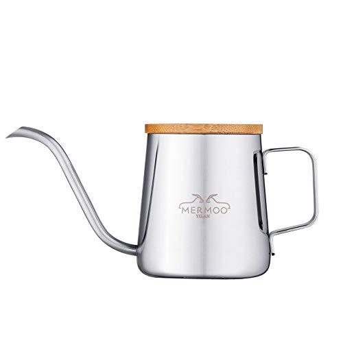 MERMOO YILAN コーヒー ポット ドリップコーヒー ケトル 蓋付き ドリップポット こーひーぽっと やかん コーヒー 人気 1人用 350ml ステンレス 細口 珈琲(シルバー)