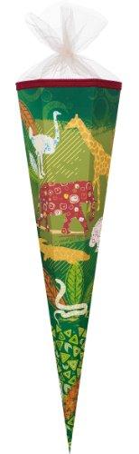 alles-meine.de GmbH Schultüte - Tierreich 22 cm - mit Tüllabschluß - Zuckertüte Nestler Afrika Zootiere Zebra Elefant Zoo Safari Tiere Tier Krokodil