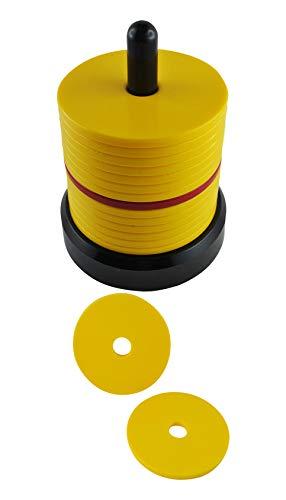 my-plast.de Schockbesteck (gelb) inkl. 2 extra Scheiben | Knobelturm zum Knobeln Jule Maxen Schocken Max Schock Mörkeln Maiern