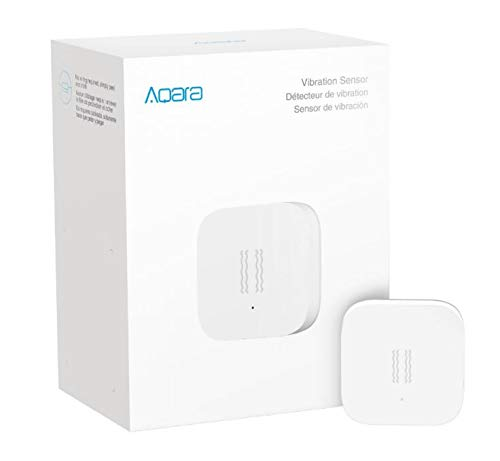 Aqara Vibration Sensor, REQUIRES AQARA HUB, Zigbee Connection, Wireless Mini Glass Break Detector for Alarm System and Smart Home Automation, Compatible with Apple HomeKit