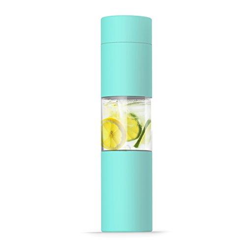 ASOBU Flavor U See a Invernadero de Acero Inoxidable, Botella de Agua Delgada y Elegante, 40,64 g, Libre de BPA, Verde Azulado