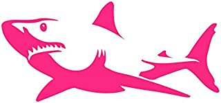 Auto Vynamics - BMPR-SHARK-8-GPNK - Gloss Pink Vinyl Detailed Swimming Shark Sticker/Decal - Open Mouth Design - 8-by-3.75-inches - (1) Piece Kit - Single Decal