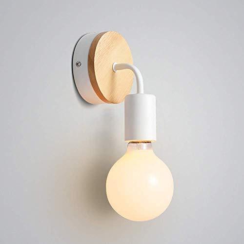 Lámparas de pared con base de madera estilo loft vintage, apliques de pared minimalistas para interiores de lámpara de metal, iluminación con portalámparas E27 para sala de estar y dormitorios