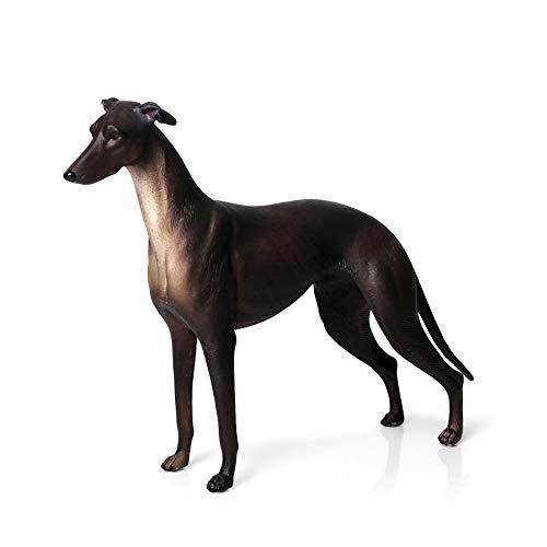 Hibon Hundefigur Simulierter Hund, realistische Kunststoff-Tiere für Sammlung, wissenschaftliche Bildungsrequisite (schwarzer Windhund)