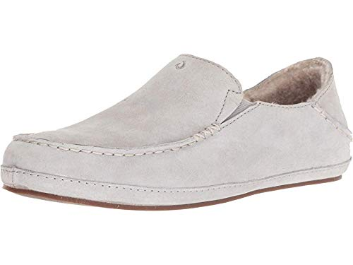 OLUKAI Women's Nohea Moccasin Slipper, Pale Grey/Pale Grey, 8 M