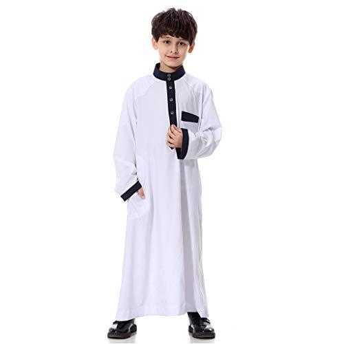 Muslimische Kleider Jungen Lang,Lange Ärmel Solide Saudi Arabisch Islamisch Muslim Dubai Robe für Jungen,Islamische Kleider Lang Kleid Maxikleid Lose Robe Kleid Kaftan Ramadan Kleider