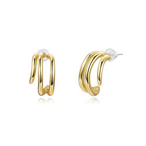 Liuanan 14K Gold Split Hoop Huggie Earrings Charm Claw Stud Earrings Jewelry for Women Girls (Gold)