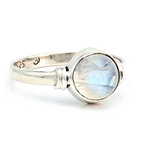 Anello argento 925 con pietra di luna (MRI 191), dimensioni anello:54 mm/Ø 17.2 mm