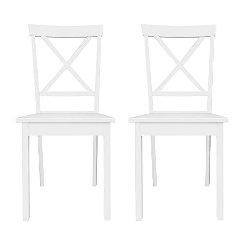 Furniture 247 - Sedia per tavolo da pranzo, bianco, legno