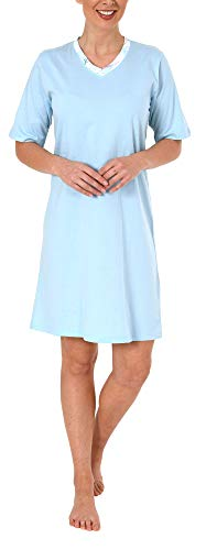 Elegantes unifarbenes Damen Nachthemd Kurzarm von Normann 191 214 90 106, Farbe:hellblau, Größe2:44/46