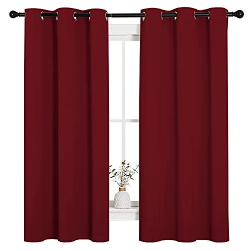 NICETOWN Holiday Decor Thermal Insulated Solid Grommet Blackout Curtains/Drapes for Living Room (1 Pair, 42 by 63 inches, Burgundy Red)