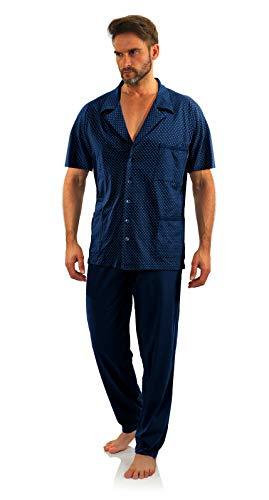 sesto senso Pigiama Uomo Abbottonata Cotone Maniche Corte con Bottoni Pantaloni Lunghi M Blu Scuro Ancoraggio