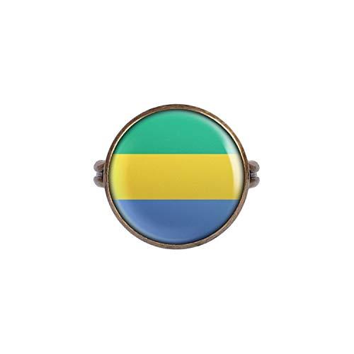 Mylery Ring mit Motiv Gabun Librevilla Flagge Bronze 16mm