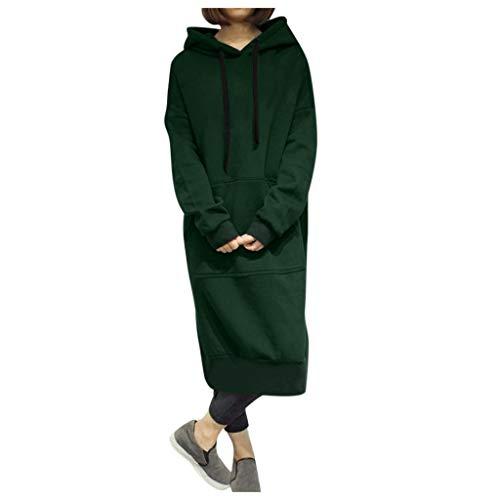 GOKOMO Frauen Winter Warm Hoodie Baggy Pullover Damen schwarz lang Oversize Sweatshirt Langes Kleid(Grün,Small)