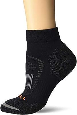 Merrell womens 1 Pack Cushioned Zoned Light Hiker (Low/Quarter/Crew Cut Socks) Casual Sock, Onyx (Quarter), Shoe Size 4-10 US