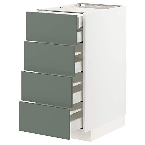 METOD/MAXIMERA base cb 4 frnts/2 bajos/3 md drwrs 40x61.6x88 cm blanco/Bodarp gris-verde