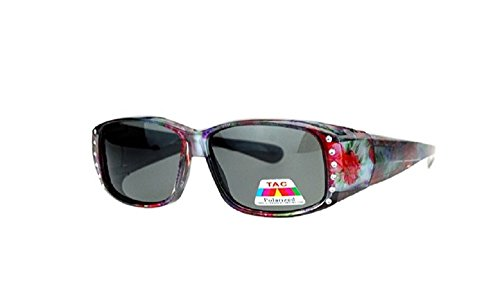 Polarized Rhinestone Fit Over Lens Cover Sunglasses - Flower