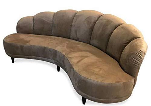 Casa Padrino sofá de Lujo Avellana marrón/Negro 231 x 124 x H. 85 cm - Sofá de Terciopelo Curvado - Muebles de Sala