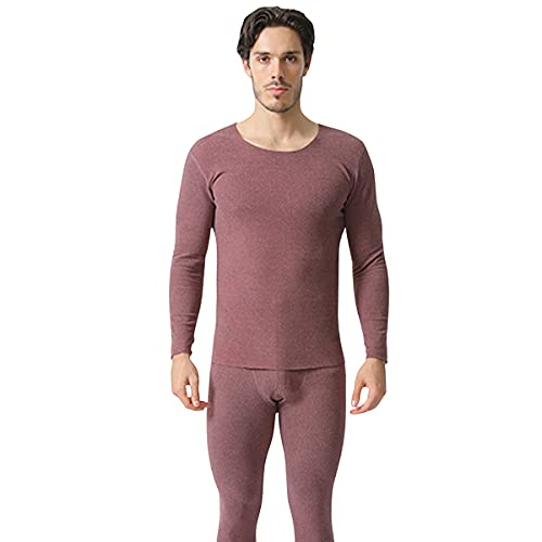 Sidiou Group Seamless Thermal Underwear Set Winter Warm Soft Elastic Crew Neck Long Sleeve Base Layer Tops & Bottoms (Men-wine Red, L)