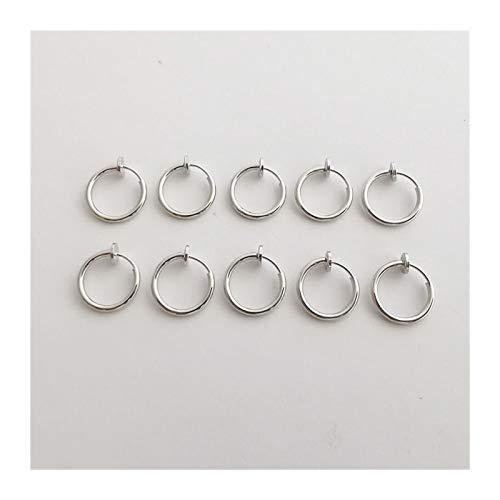 LUOSI 2pc / Pack Clip Retráctil De Acero Inoxidable En Pendientes Sin Perforaciones para Mujeres Niñas Sin Orejas De Orejas De Orejas con Orejas Clips (Metal Color : 10 pcs Silver)