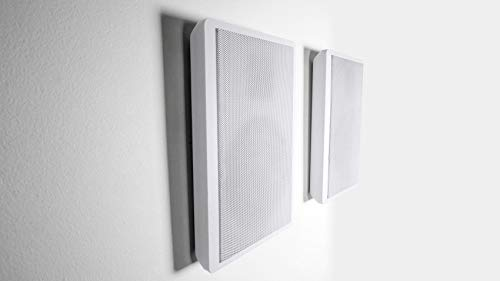 Pair Rockville RockSlim White Front+Rear Surround Sound Shallow On-Wall Speakers