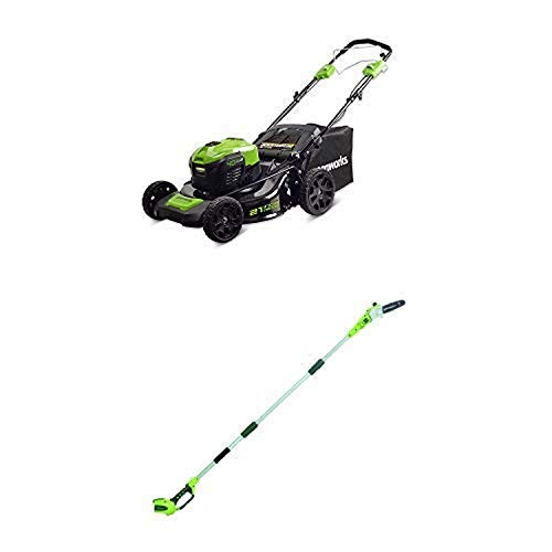 Greenworks 21-Inch 40V Self-Propelled Cordless Lawn Mower with 8.5' 40V Cordless Pole Saw Battery Not Included 20302 -  Sunrise Global Marketing, LLC